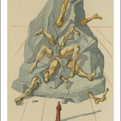 Salvador Dali, Hell 19, Woodcut, Divine Comedy
