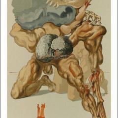 "Salvador Dali ""Hell 7, Woodcut, Divine Comedy"