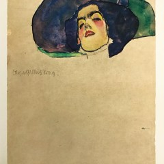 Egon Schiele lithograph, Womans Head with wide brimmed hat