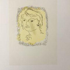 """Braque Lithograph """"Tete de jeune fille"""" 1963 Mourlot"""
