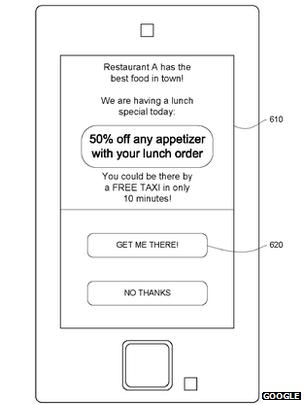 Lo último de Google, taxi gratis a cambio de comer en cierto establecimiento.