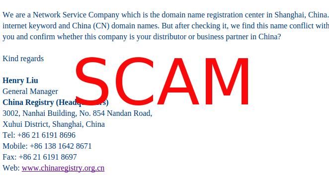 Oleada de Scam desde China reclamando dominios .cn