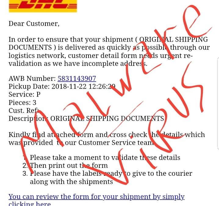 Nueva oleada del virus DHL por email