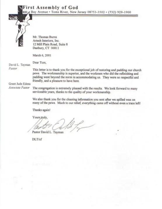 Thank You Letter Preacher