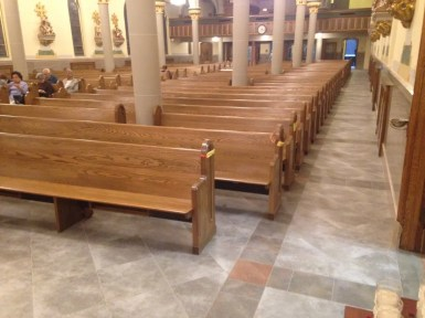 New pews, full aisle