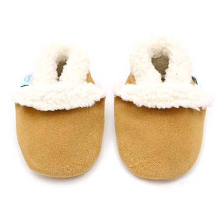 Dotty Fish Tan Suede Slippers Pantofole bimbo