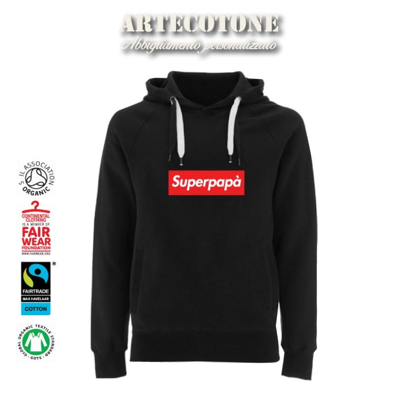 Felpa Unisex Superpapà stile Supreme Design by Artecotone