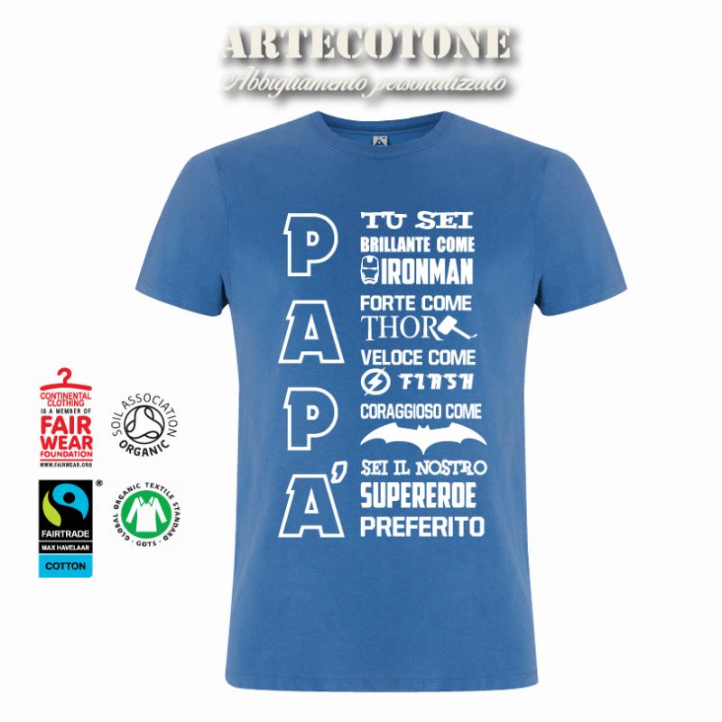 T-shirt papà super eroe - cotone biologico