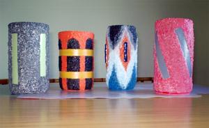 Floreros de Vidrio Decorados con Arena de Colores