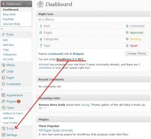 Actualizar WordPress 2.7