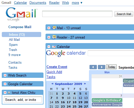 Integrar GMail Google Reader y Calendar