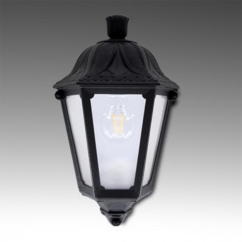 Luci da esterno lanterna bianco antico con 3 candele led effetto fiamma bianco. Iesse Mezza Lanterna Arte Luce