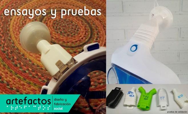 Distintos prototipos skuba HEPA! para uso con un solo filtro HEPA (empleados en respiradores sanitarios).
