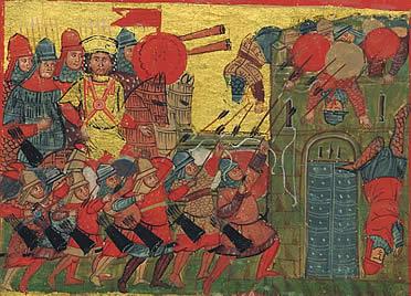 Asedio de Atenas por las tropas bizantinas de Alejandro el Grande.  Ilustración del siglo XIV