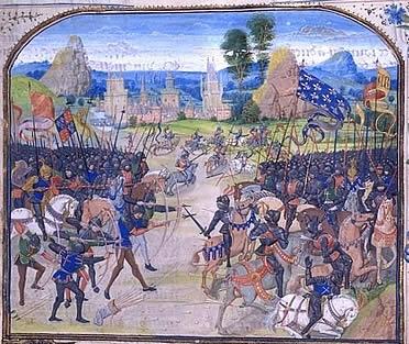 Miniatura ilustrada de la Batalla de Poitiers, en la Guerra de los Cien Años