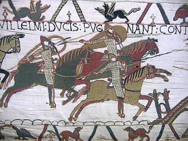 Soldados a caballo. Tapiz de Bayeux, s. XII