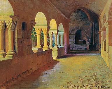 Cuadro de Santiago Rusiñol que representa una de las esquinas del claustro