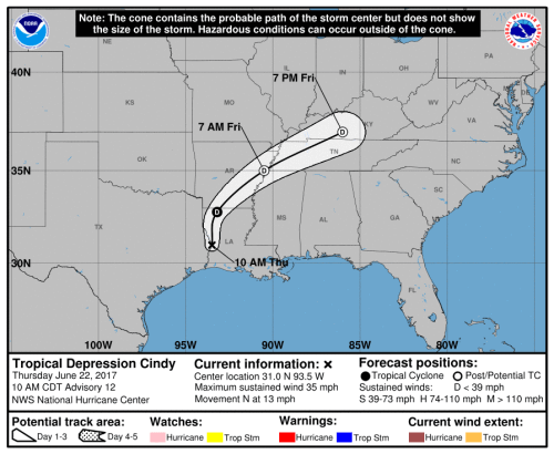 Tropical storm Cindy tracking map and forecast path