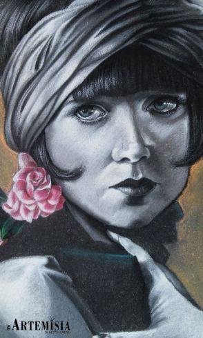 Portrait - Louise Brooks Chalk on street 150x180