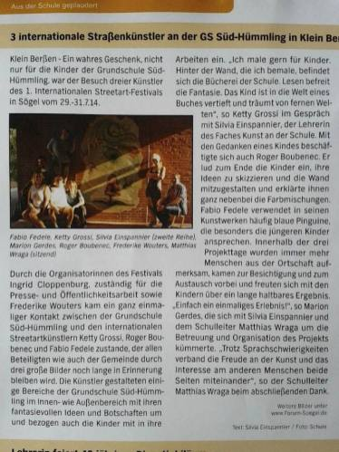 11 Agosto 2014 - Article in a German newspaper about the festival and the murals of Soegel
