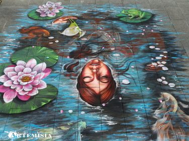 'Ophelia' Chalk and tempera on street. 4x5 mt