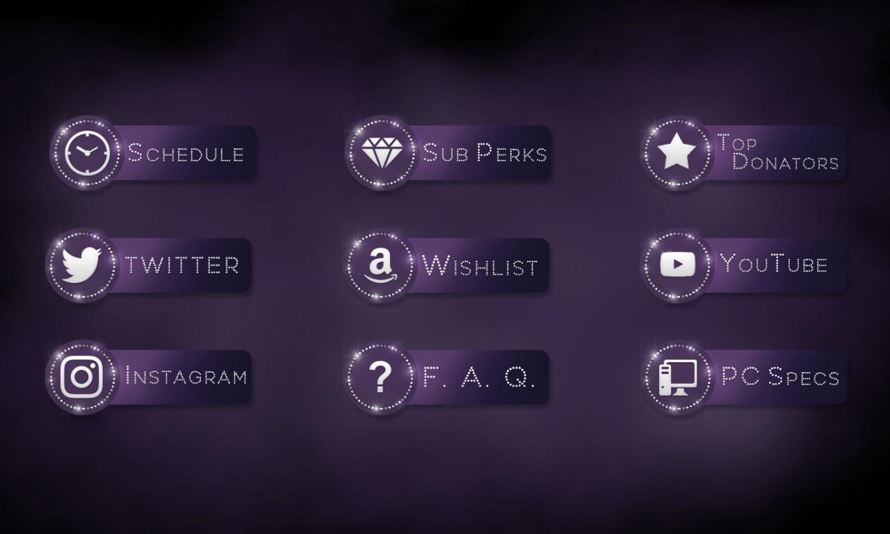 User Interface Design Twitch Profile Bio Buttons for Anniefuchsia