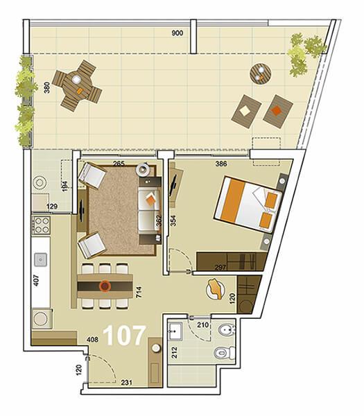 Torre Indigo 1 dormitorio 107