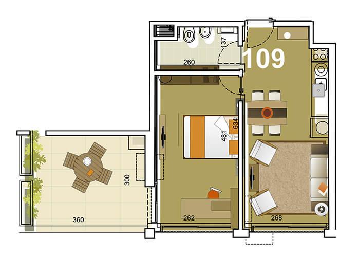 Torre Indigo 1 dormitorio 109