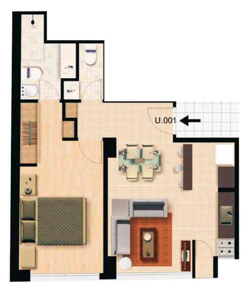 Plano de Bahia Honda 1 Dormitorio Horizontal