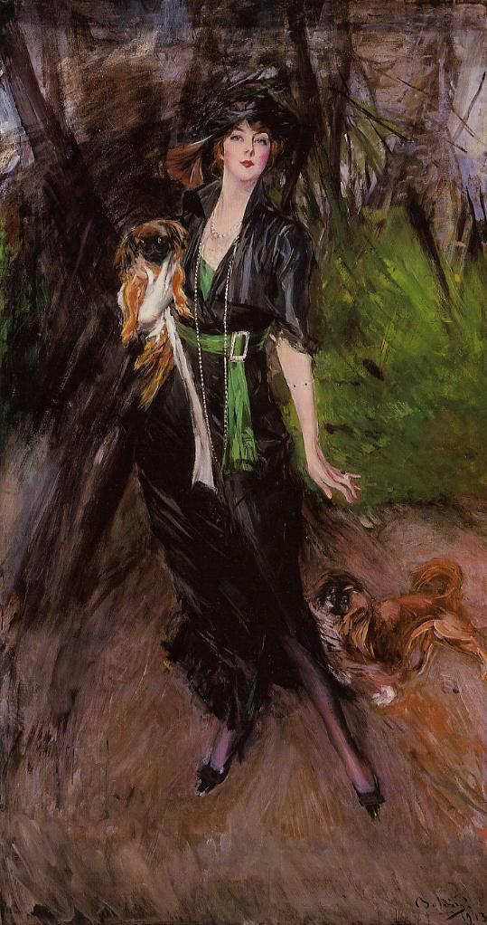 Portrait of a Lady, Lina Bilitis, with Two Pekinese, by Giovanni Boldini