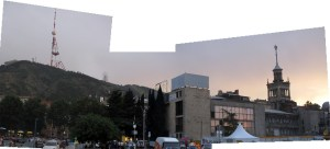 Panoramic shot of Tbilisi at sunset