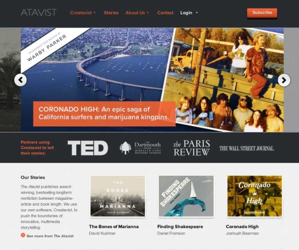 The Atavist is both a publishing tool and a sales platform for journalists interested in producing long-form stories. The tool was a bit rough & buggy when I tried it a year ago; I have my hopes that they've gotten better.
