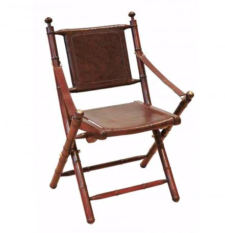 tres belle chaise pliante cuir marron bois de teck et laiton dans style colonial elegant