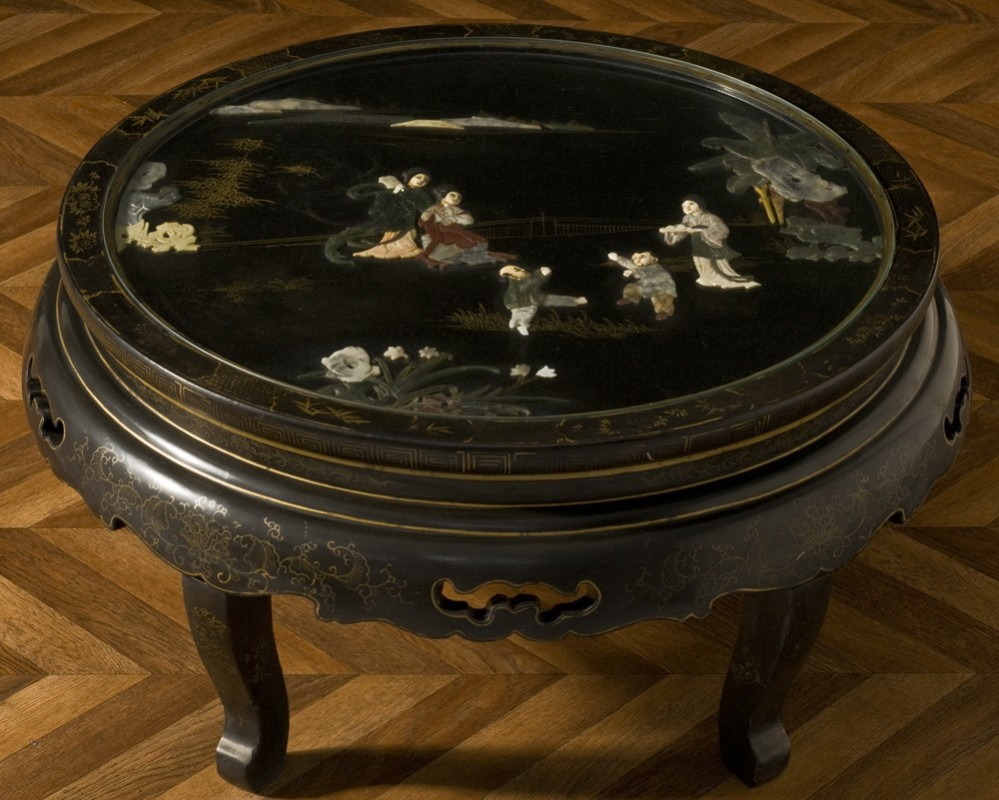 Chinese Antique Jade Inlays Coffee Table Jade In Relief