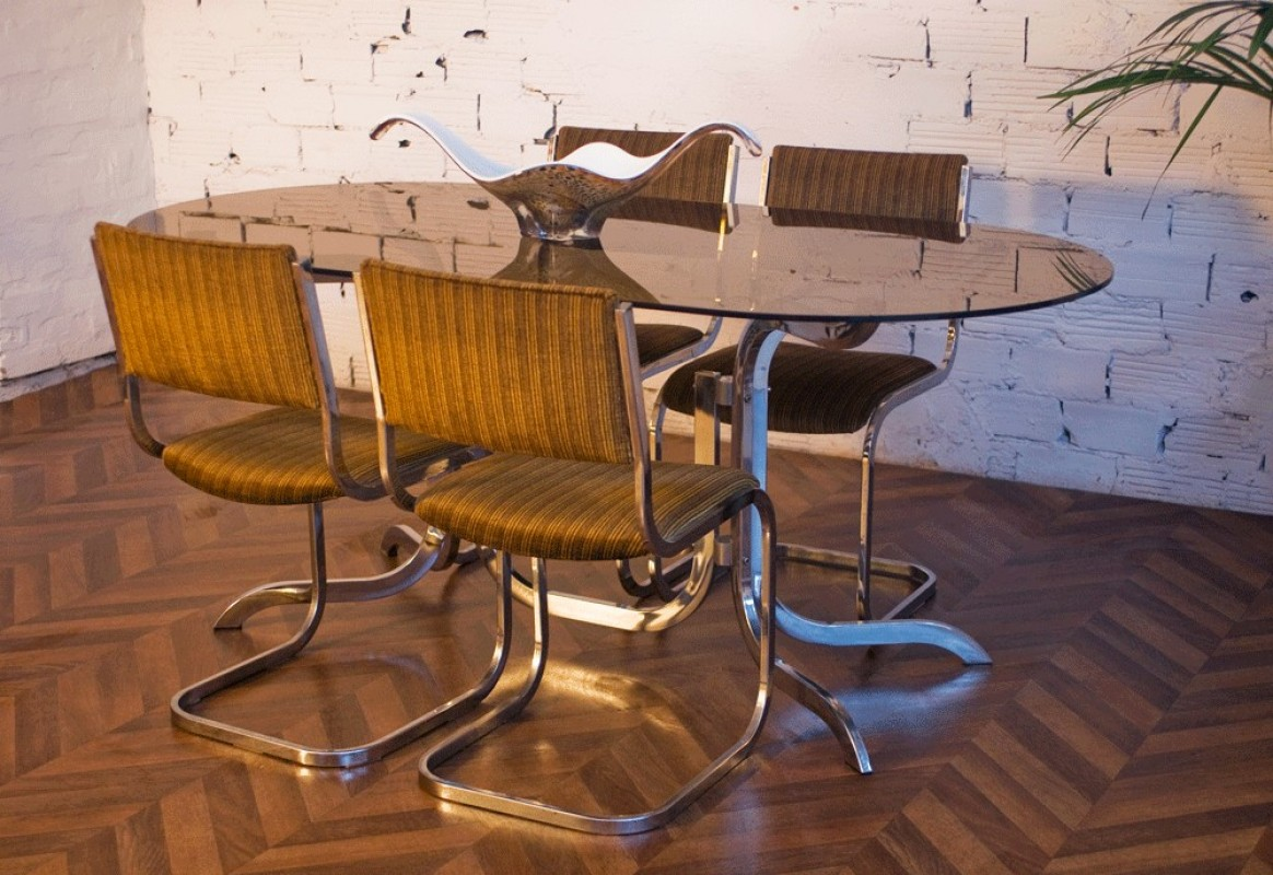 70s Smoked Glass Dinning Table And Chairs Dining Table