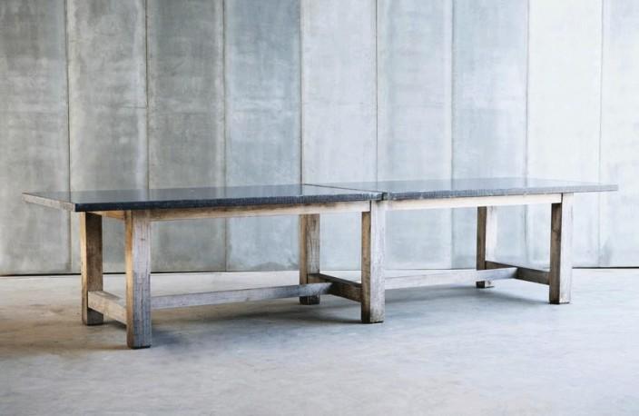 grande table familiale en chene et plateau en granit bleu une realisation ur mesure de tres grande qualite