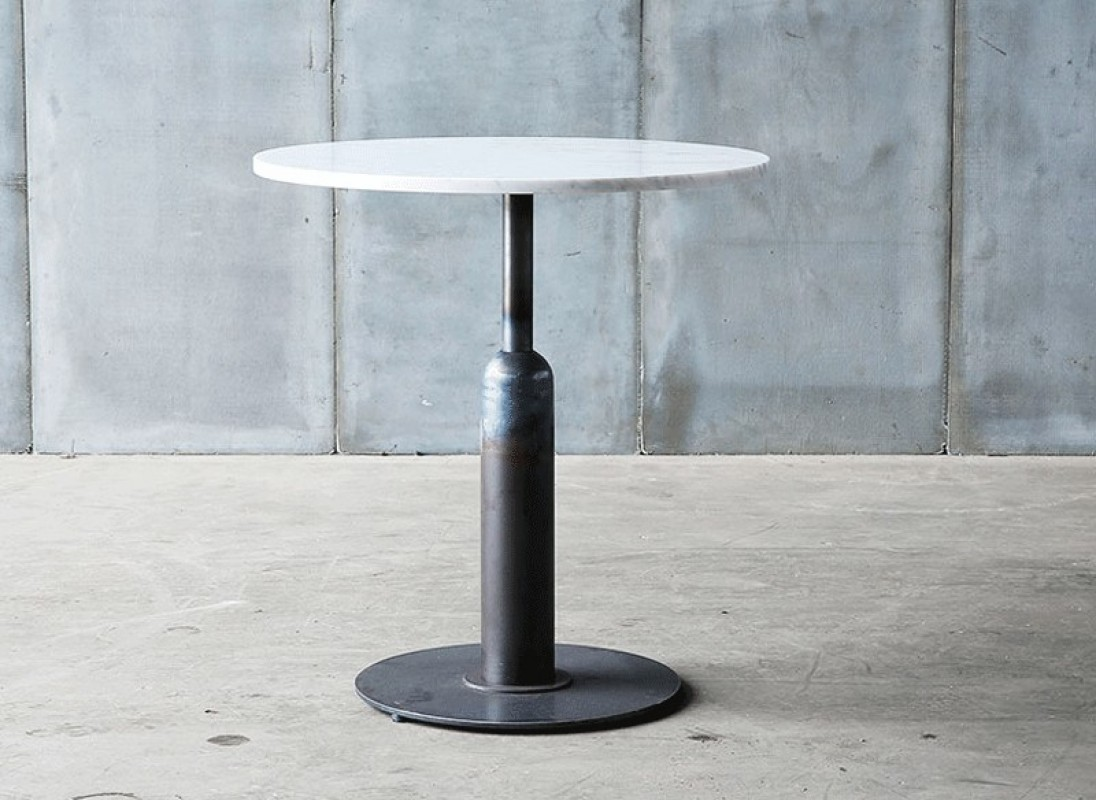 Pedestal Table Made In Marble From Carrare And Metal Base