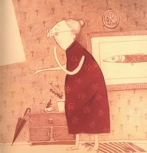 """Illustrazione tratta dal libro """"Una nonna tutta nuova""""di Elisabeth Steinkellner, Michael Roher (Terre di Mezzo, 2012)"""