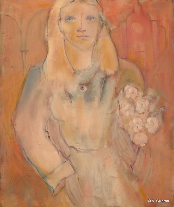 H19 - Jeune femme au bouquet (65 x 54 cm)