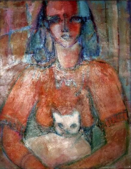 DA - Portrait hiératique au chat blanc 65 x 54 cm02