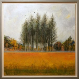 Artist Alex Egan, Poplar Trees in Field of Marsh Reeds, Barton Turf, Acrylic and Ink, Photo by Katy Jon Went
