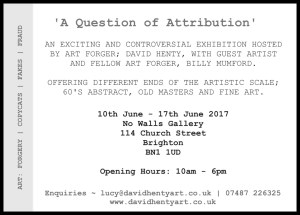 A Question of Attribution, David Henty & Billy Mumford, No Walls Gallery, Brighton
