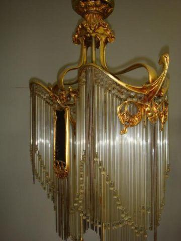 Art Noveau Gilt Bronze Chandelier With Glass And Steel Rods Amethyst Plaques