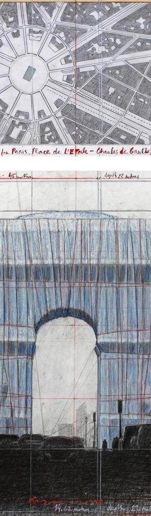 Christo, L'Arc de Triomphe, Wrapped (Project for Paris) Place de l'Etoile – Charles de Gaulle. Desenho de 2018 em duas partes