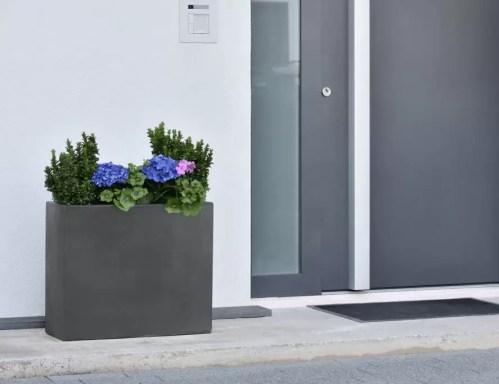 Ghiveci plante dreptunghi compozit fibra beton usor gri antracit intrare