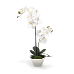 Orhidee decorativa alba ghiveci 50cm