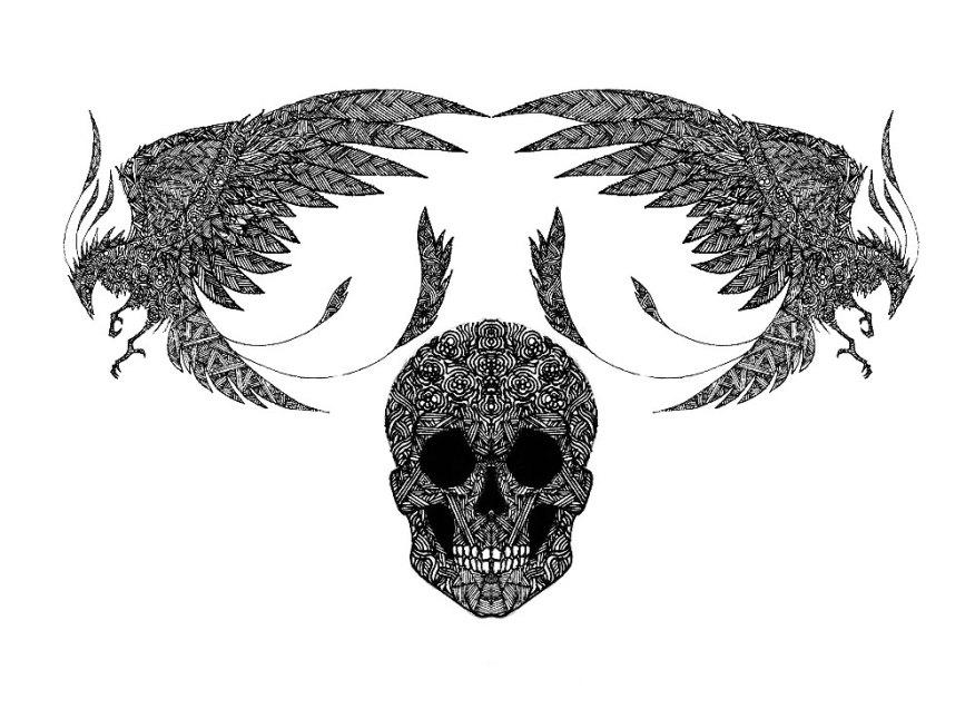 phoenix-dessin-noir-monochrome-artfordplusbest-