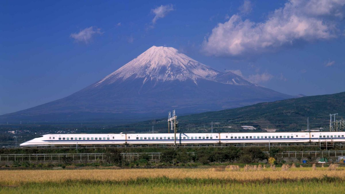 shinkansen fuji mountain scene