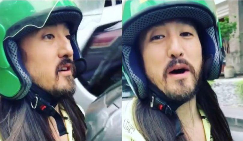 Terjebak Macet !! DJ Terkenal Steve Aoki Naiki Ojek Online Di Bali !