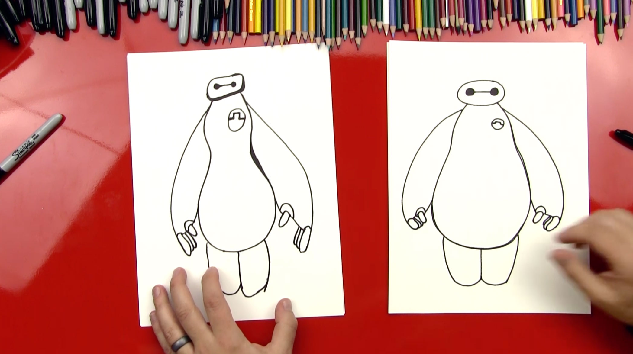 How To Draw Baymax From Big Hero 6 Art For Kids Hub
